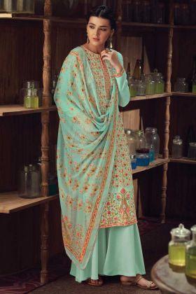 Aqua Color Wool Pashmina Kashmiri Plazzo Suit