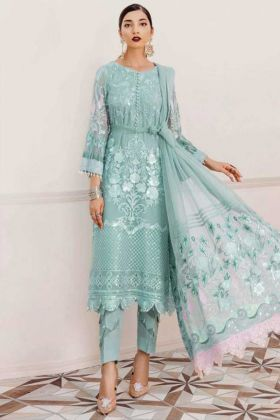 Aqua Pakistani Style Heavy Faux Georgette Suit