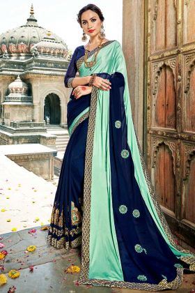Aqua and Navy Blue Color Fancy Fabric Festival Saree With Embroidery Work