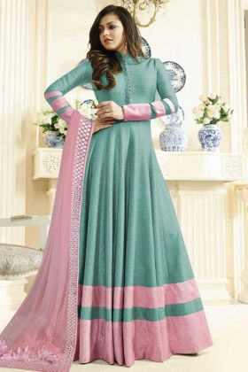 Aqua Blue Color Art Silk Anarkali Suit With Drashti Dhami