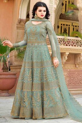 Aqua Blue Color Net Indo Western Salwar Suit With Embroidery Work