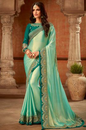 Aqua Green Apple Fancy Coating Wedding Saree