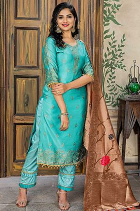 Aqua Green Color Banarasi Jacquard Pant Style Salwar Suit With Embroidery Work
