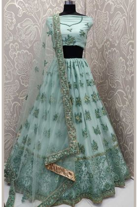 Aqua Green Color Net Party Wear Lehenga Choli With Thread Embroidery Work