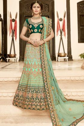 Aqua Green Pure Heavy Silk Bridal Lehenga Choli