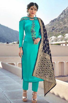 Aqua Green Satin Georgette Salwar Suit