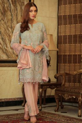 Arresting Light Aqua Colored Partywear Embroidered Georgette Simple Pakistani Suits