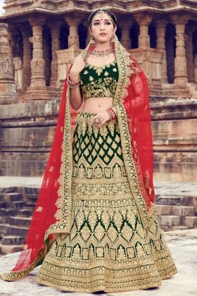 Arresting Dark Green Velvet Royal Looks Lehenga Design Stone Work
