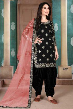 Art Silk Black Color Patiala Kameez Dress With Best Price