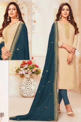 Art Silk Designer Straight Suit In Beige