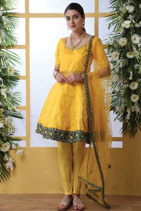 Art Silk Frock Style Salwar Suit With Yellow Color