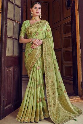 Art Silk Light Green Woven Work Festival Saree