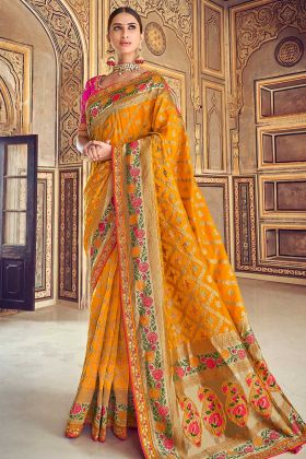 Art Silk Mustard Yellow Woven Work Designer Saree