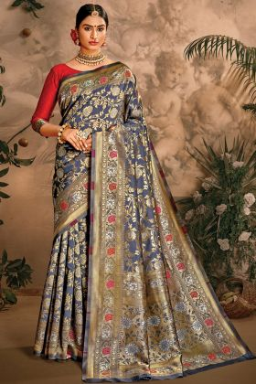 Art Silk Wedding Saree Collection In Grey Color With Best Price