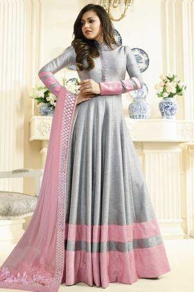 Art Silk Anarkali Salwar Suit Grey Color With Embroidered Design