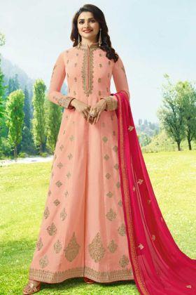 Art Silk Anarkali Salwar Suit Peach Color With Nazneen Dupatta