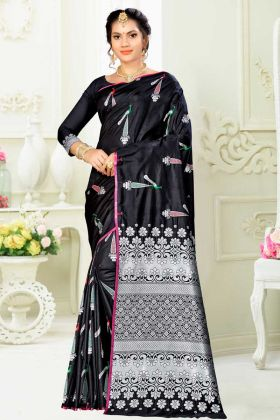 Art Silk Banarasi Saree Black Color With Weaving Work