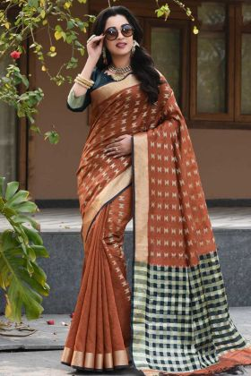 Art Silk Banarasi Saree Brown Color With Weaving Work Blouse