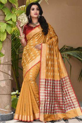 Art Silk Banarasi Saree Look Weaving Musturd Yellow Color