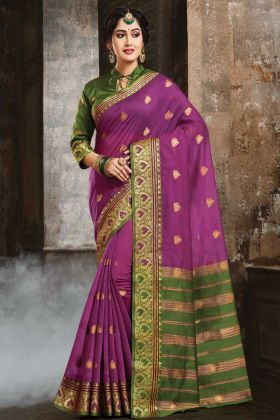 Art Silk Banarasi Saree Purple Color With Weaving Work