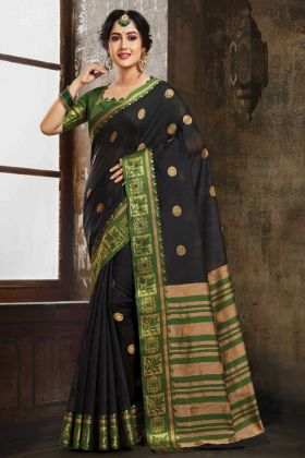 Art Silk Banarasi Wedding Sarees Saree Weaving Black Color