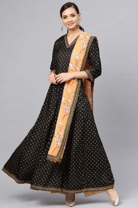 Art Silk Black Color Anarkali Salwar Suit Printed