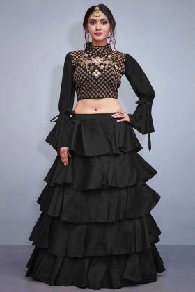 Art Silk Black Layered Lehenga Choli With Resham Work