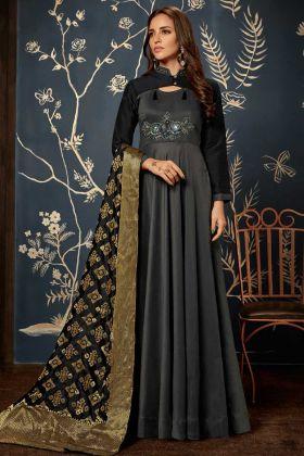 Art Silk Black Wedding Gown