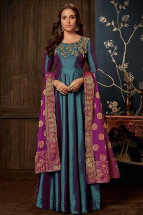 Art Silk Blue Wedding Gown
