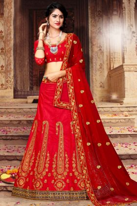 Art Silk Bridal Lehenga Choli Red Color In Thread Embroidery Work