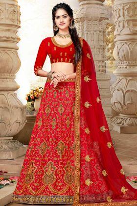 Art Silk Bridal Lehenga With Net Dupatta Red Color