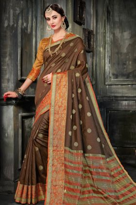 Art Silk Brown Festive Saree