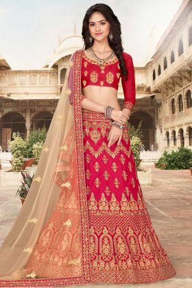 Art Silk Choli And Satin Silk Dark Pink Wedding Lehenga Design