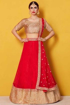 Art Silk Circular Lehenga Choli Red Color With Plain Blouse