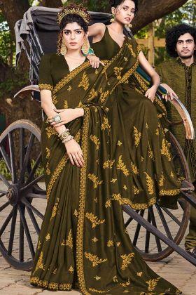 Art Silk Dark Olive Green Color Women Saree Design