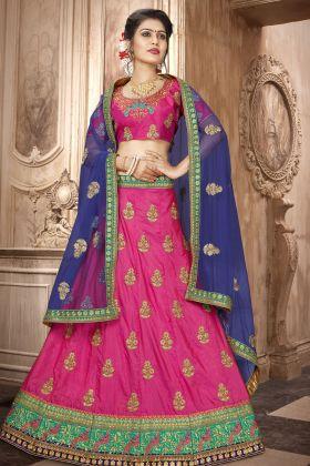 Art Silk Dark Pink Festive Lehenga Choli