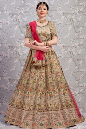 Art Silk Designer Lehenga Beige Color With Net Dupatta
