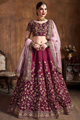 Art Silk Designer Lehenga Choli Coding Embroidery Work In Magenta Pink Color
