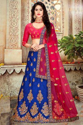 Art Silk Designer Lehenga Choli In Stone Work Royal Blue Color