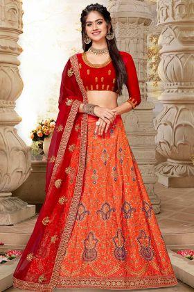 Art Silk Designer Lehenga With Stone Work Orange Color