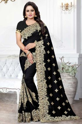 Art Silk Designer Saree Black Color With Jari Embroidery Work