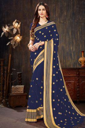Art Silk Designer Saree Jari Embroidery Work In Navy Blue Color