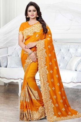 Art Silk Designer Saree Stone Work In Orange Color