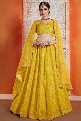Art Silk Festival Lehenga Choli Musturd Yellow Color With Resham Embroidery Work