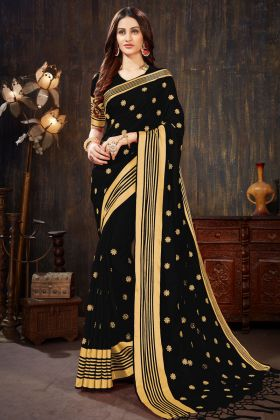 Art Silk Festival Saree Black Color With Weaving Work