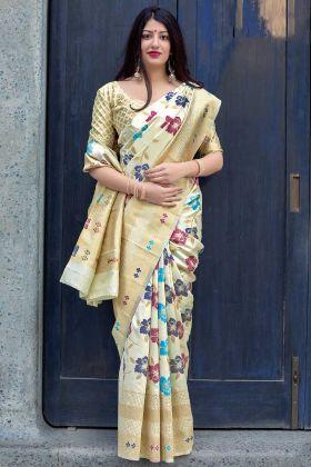 Art Silk Festival Saree Cream Color With Weaving Work