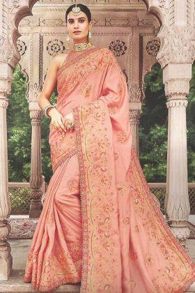 Art Silk Festival Saree Dark Peach Color With Zari Embroidery Work