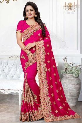 Art Silk Festival Saree Dark Pink Color With Cut Work