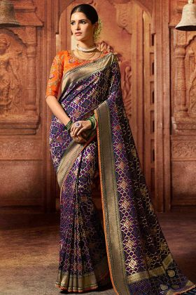 Art Silk Festival Saree Purple Color With Thread Embroidery Work