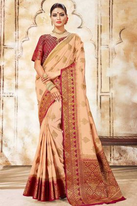 Art Silk Festival Saree Weaving Work In Peach Color